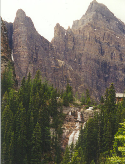 Image 1 of 1<br />Lake Agnes teahouse and waterfall