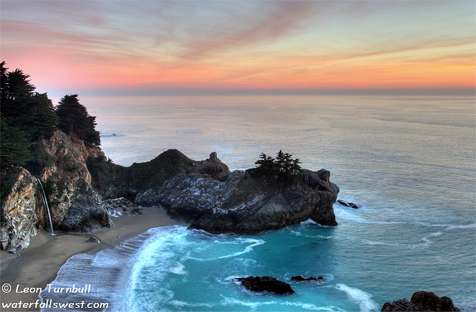 Image 1 of 4<br />McWay Falls at dusk, just after sunset